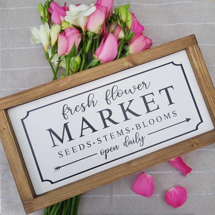 Fresh Flower Market Rustic Sign