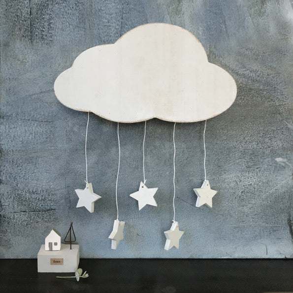 Wooden cloud with stars hanger