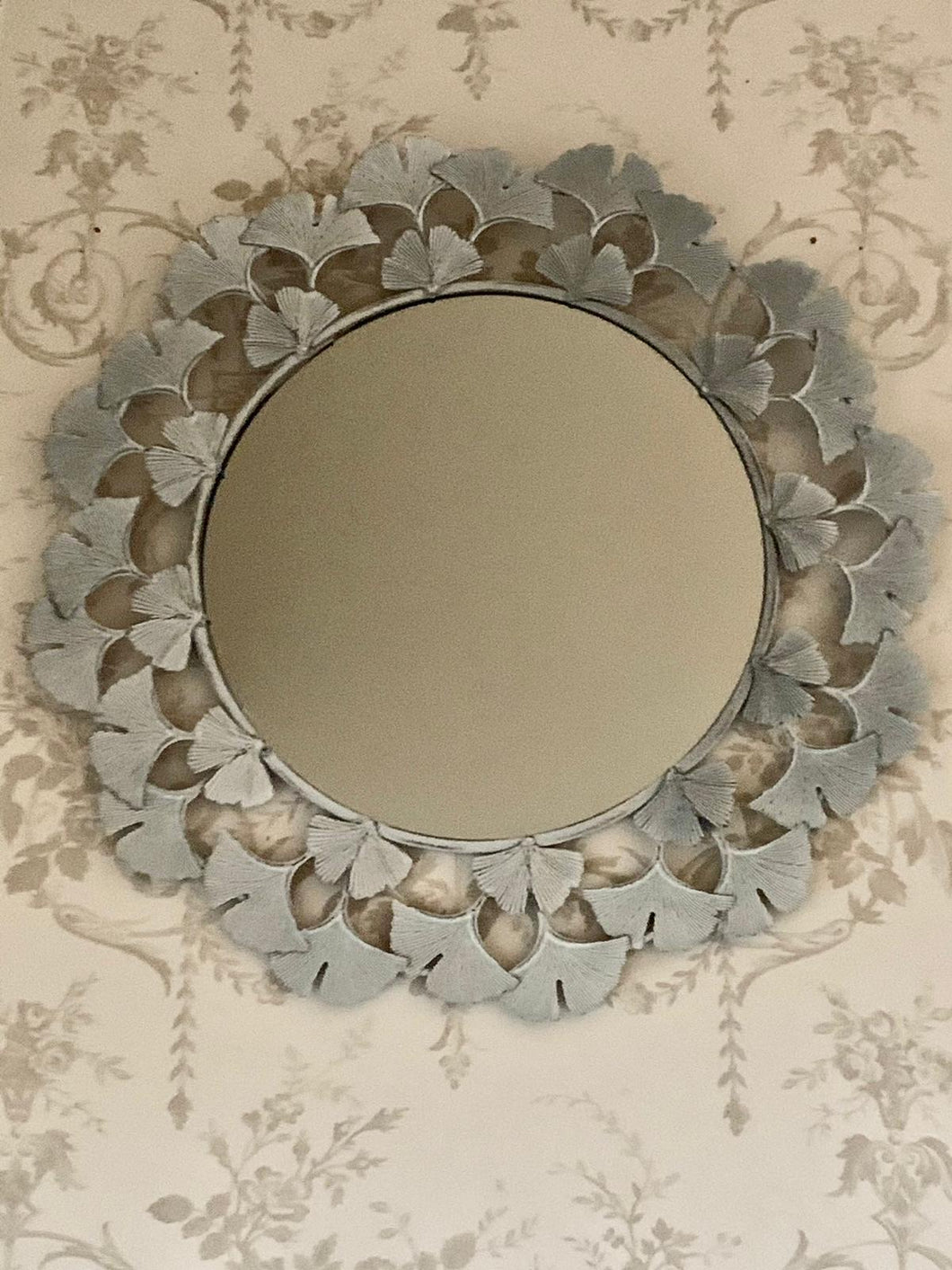 Grey Floral Wall Mirror