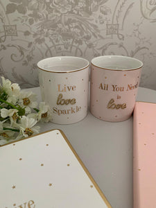 Oh so charming gift range ... Live Love Sparkle / All you Need is Love
