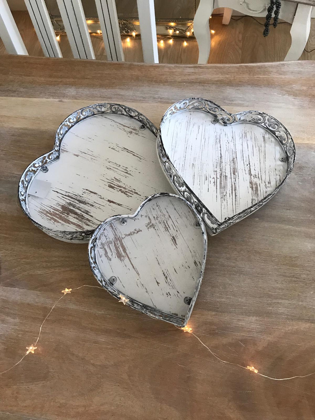 Rustic white heart trays ... set of 3