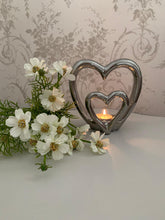Load image into Gallery viewer, Silver double heart Tealight Holder