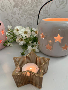 Ridged Star Tea light Candle Holder ... 2 colours