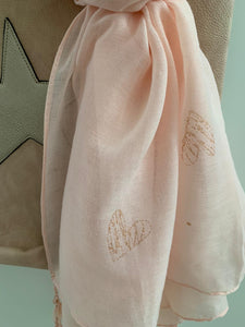 Scarf .... Pink with Rose gold heart detail