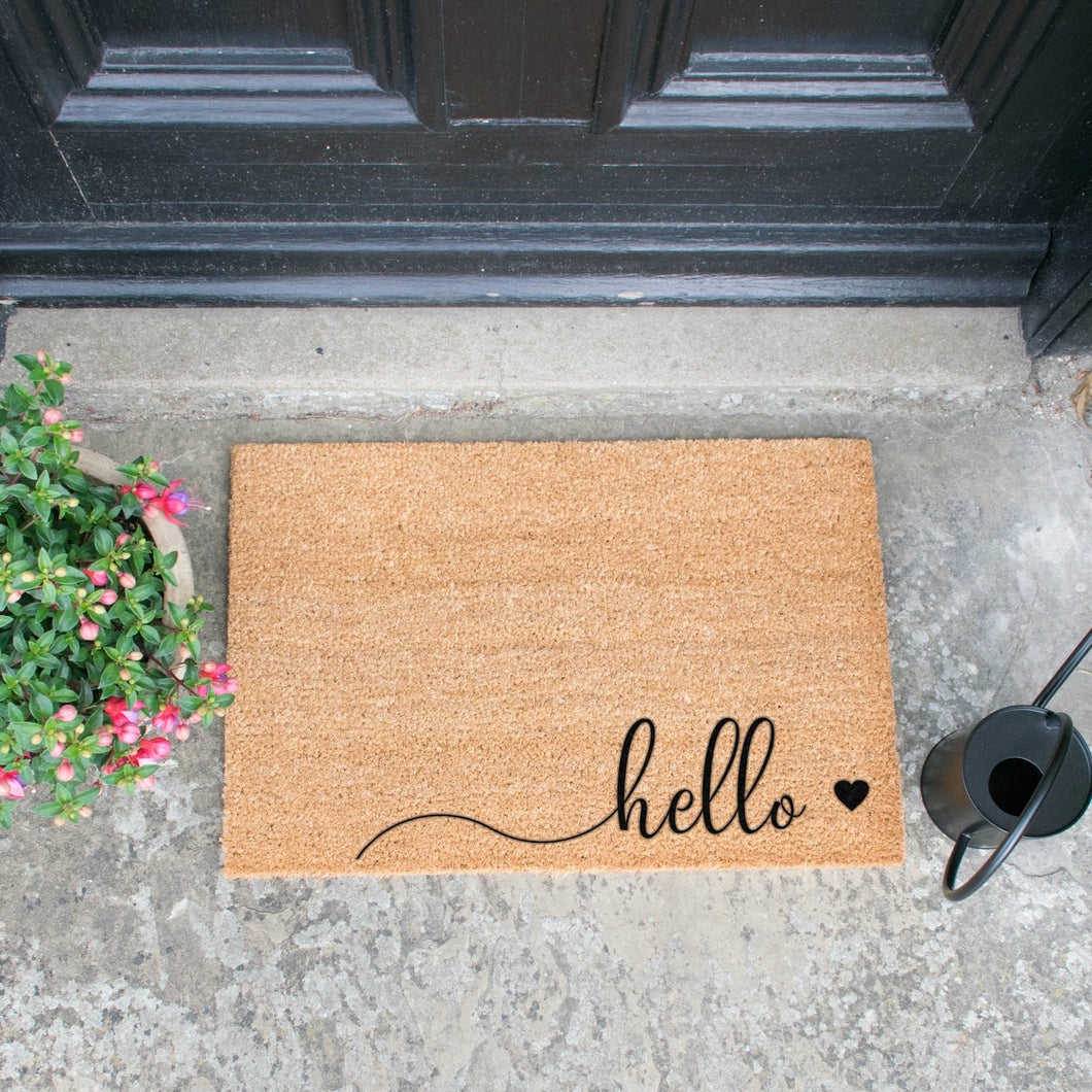 Door mat - Large ... Hello & heart Scribble BLACK