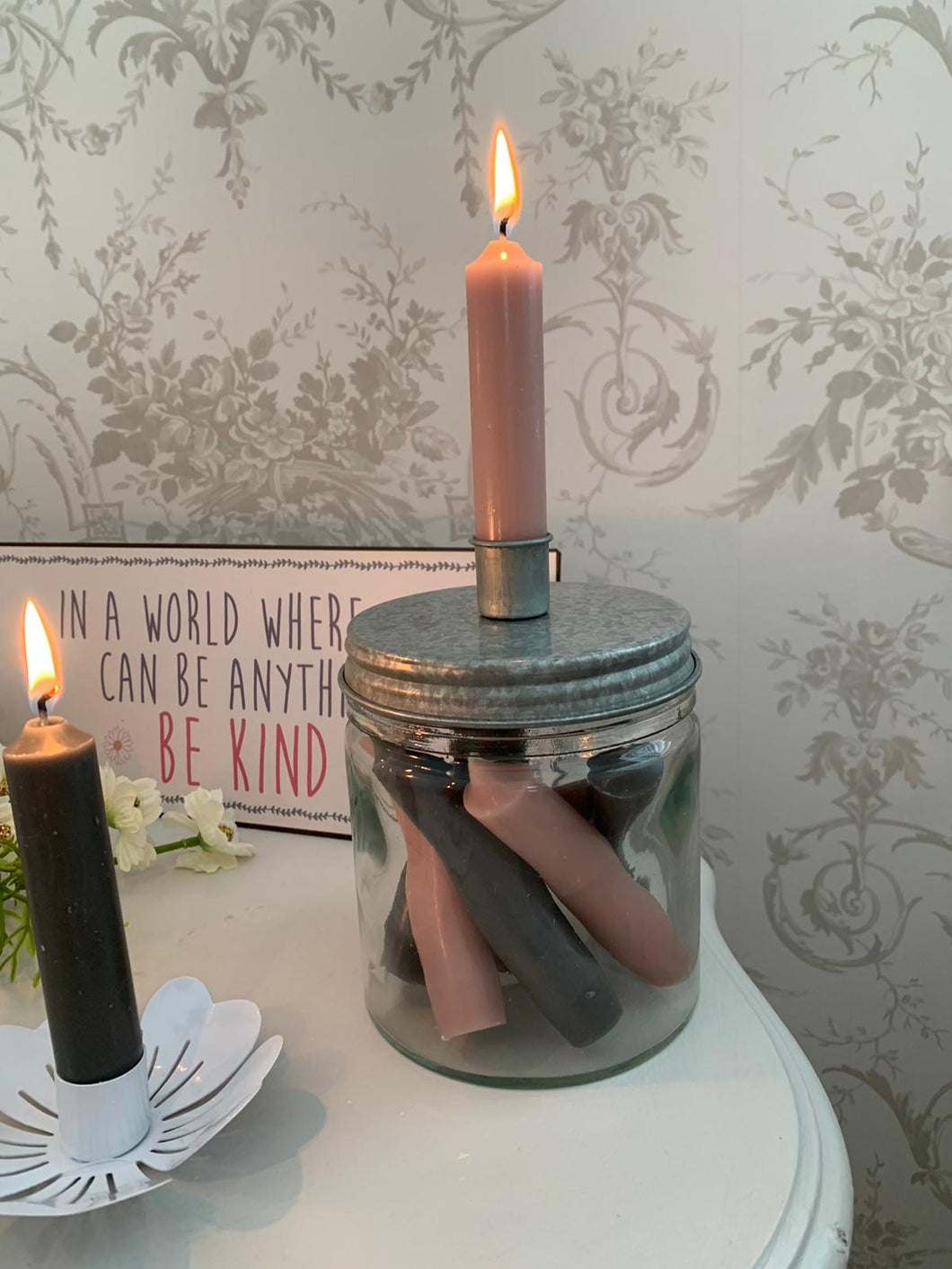 Glass Jar Candle Holder ... Vintage Grey / Silver