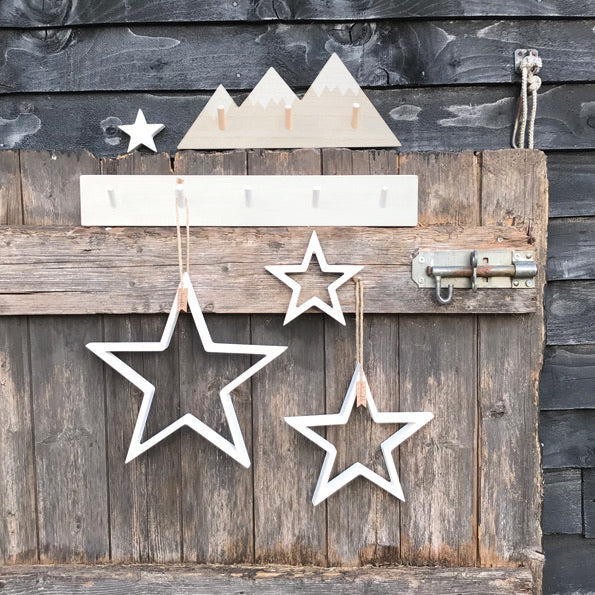 Outline wooden stars WHITE ... set of 4