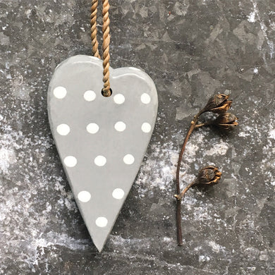 Rustic tie heart - grey & white dots ... set of 3