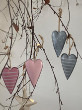 Load image into Gallery viewer, Pink spot & stripe hanging hearts ... set of 2
