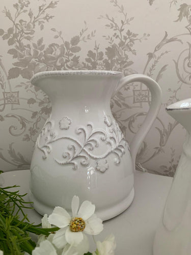 Ornate floral Wide Ceramic jug