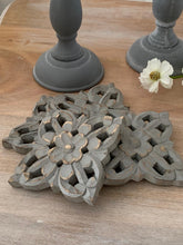 Load image into Gallery viewer, Ornate grey mango wood coasters ... set of 4