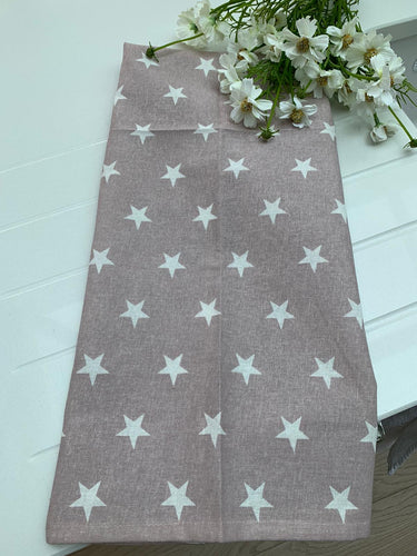 Teatowel ...  Taupe / Dusky Pink with white Star