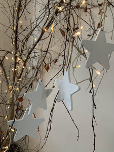 Wooden white hanging stars ... set of 4