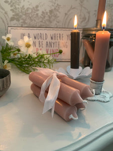 Dinner Candles ... Set of 4 ... Dusty Pink