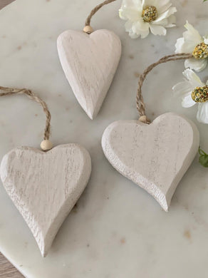 White washed wooden hearts ... set of 3