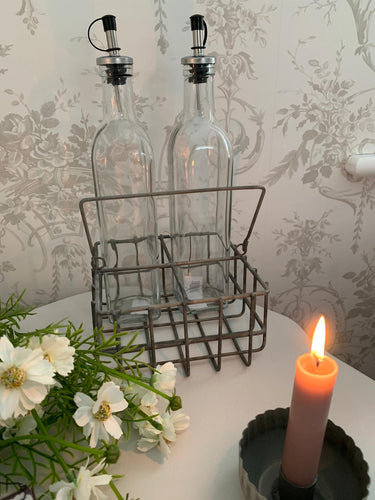 Wired Storage Basket ... Vintage Grey ... Oil & Vinegar Bottle Storage