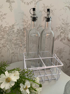 Wired Storage Basket ... White ... Oil & Vinegar Bottle Storage