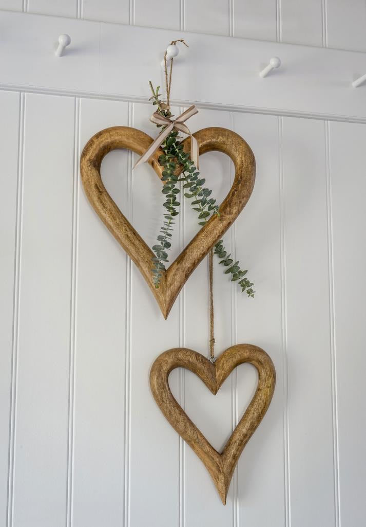 Hanging Chunky Open  Hearts ... Natural Wood