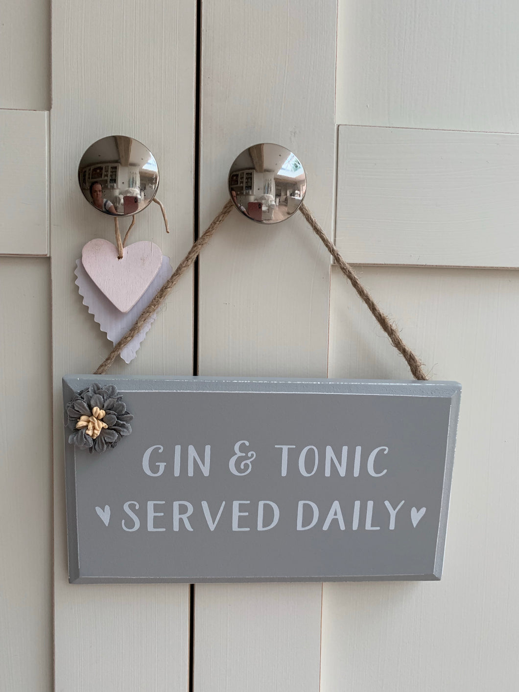 Floral detail drinks plaque ... Gin & Tonic Served Daily