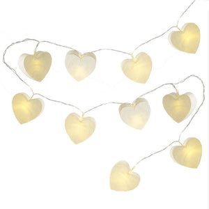 White paper Heart LED lights
