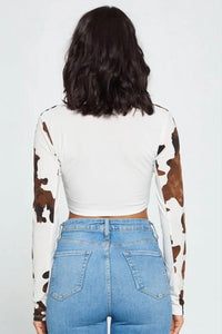 Cow Girl Top- Cream/Brown