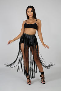 Just For Me Fringe Belt- Black