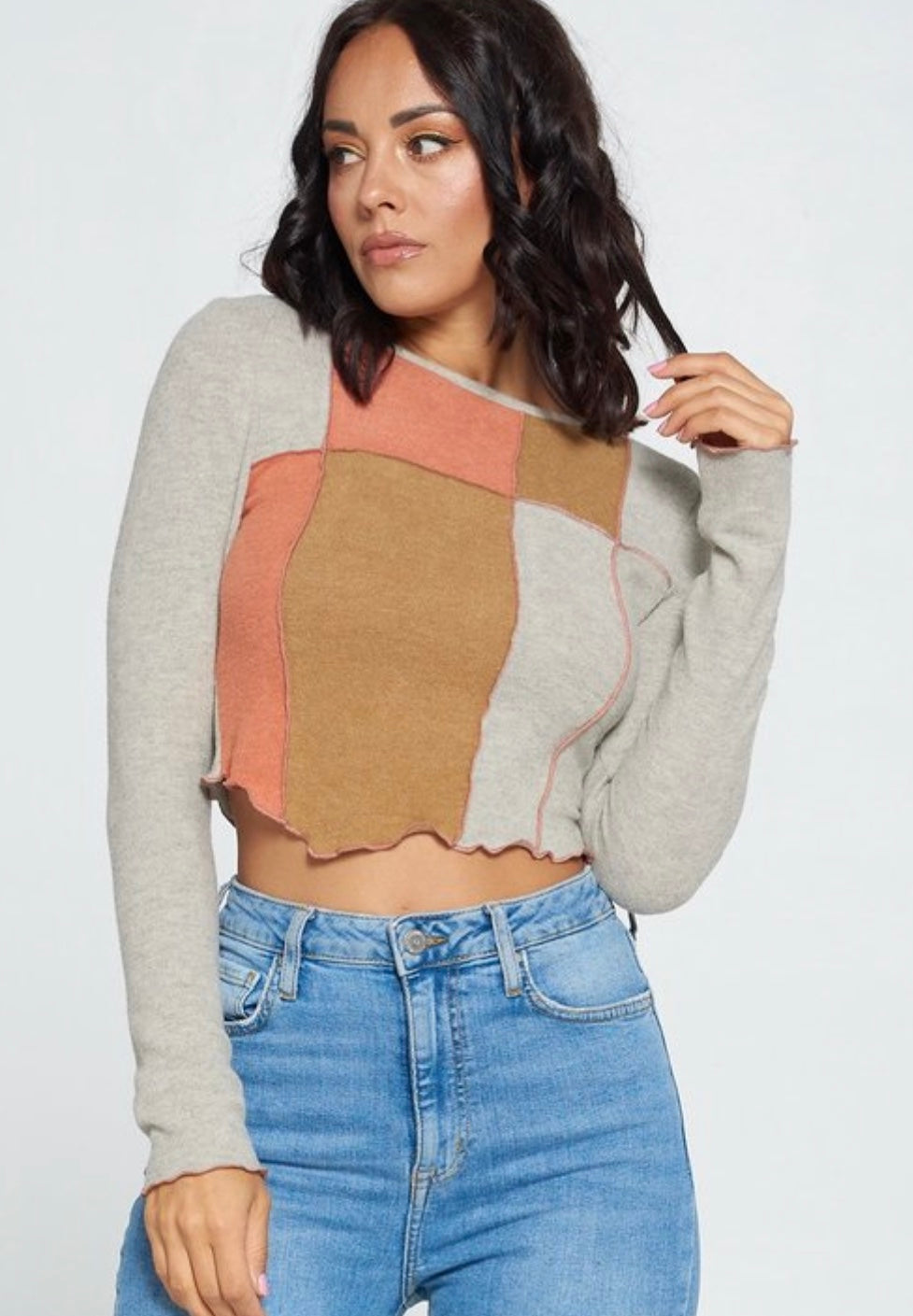 Nyla Cashmere Top- Sand/Camel/Orange