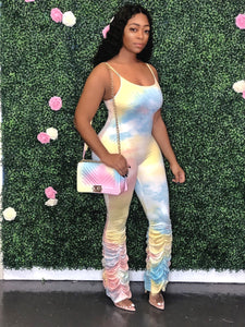 Tie Dye Ruched Bottom Jumpsuit- Pastel