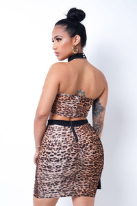 Never Too Late Animal Print Skirt Set- Brown