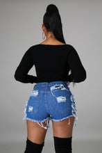 Switchin' The Gears Denim Shorts- Blue