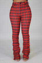 Plaid Me Out Stacked Pants- Coral