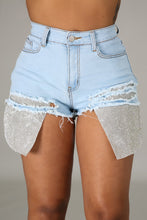Party With Me Glitz Shorts- Light Denim