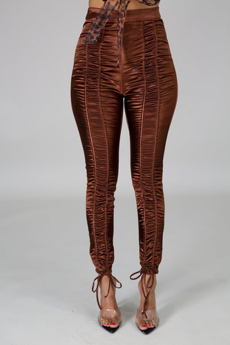 Pretty Luxechic in Satin Pants- Brown