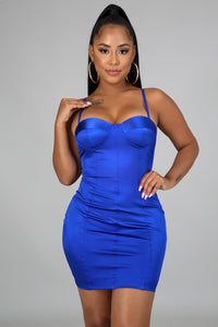 Satin Bodycon Dress- Royal Blue