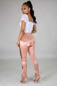 Pretty Luxechic in Satin Pants- Mauve