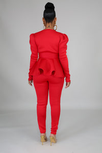 Non-Negotiable Pants Set- Red