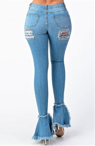 Killing 'Em Softly High Rise Destroyed Flare Jeans- Medium Blue