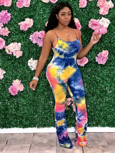 Tie Dye Ruched Bottom Jumpsuit- Blue/Multi
