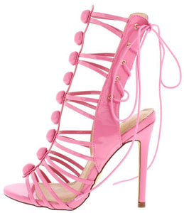 Lace Up Gladiator Stiletto Heel- Pink