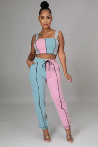 Living Single Jogger Pant Set- Mint/Pink