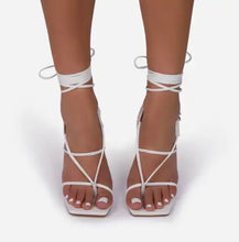 True Square Toe Lace Up Clear Heel- White Leather