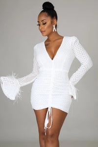 All Set For New Years Cocktail Ruched Dress- White
