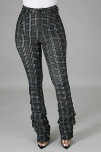 Plaid Me Out Stacked Pants- Olive