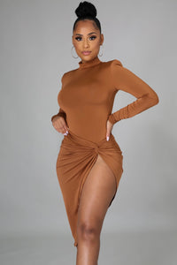 Love Mi Knot Skirt Set- Cognac
