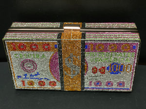 Rhinestone Cash Dollar Clutch- Multi