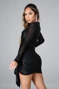 Draped In Sequin Cocktail Dress- Black
