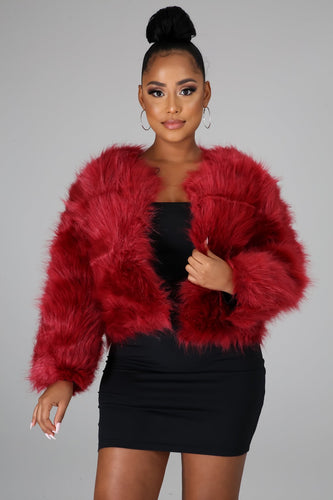 It's The Fur For Me Coat- Burgundy
