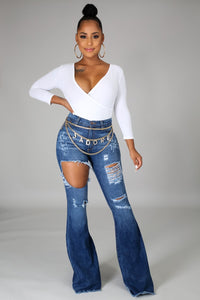 Flare It Out Denim Jeans- Dark Denim