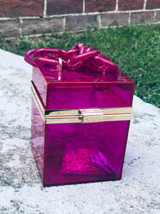 So High Class Glass Box Handbag- Fuchsia