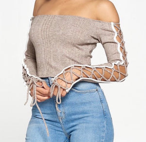 Cutting Ties Cropped Top- Oatmeal